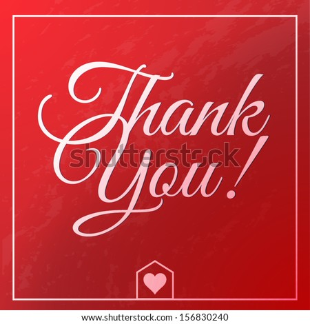 thank you vintage greeting card - stock vector