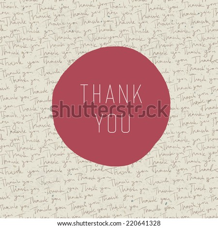 Thank you vintage greeting card. Vector - stock vector