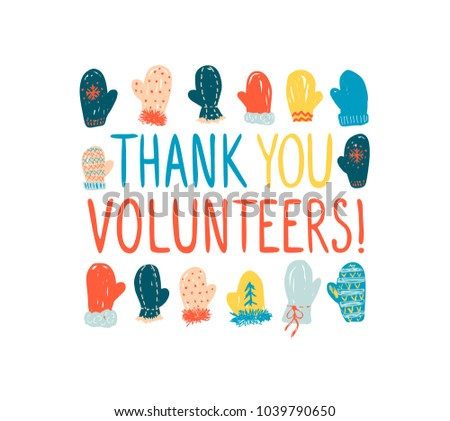 Thank you volunteers greeting card employees stock vector 1039790650 greeting card for employees of the maintenance of events at the ski m4hsunfo