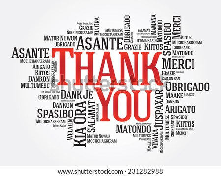 Thank You Word Cloud in different languages, presentation background - stock vector