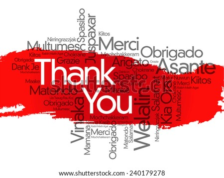 Thank You Word Cloud in vector format - stock vector
