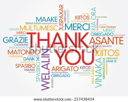 Thank You Word Cloud vector background, all languages - stock vector