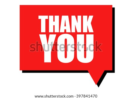 Thank you word in speech bubble - stock vector