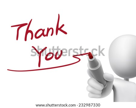 thank you words written by 3d man over transparent board - stock vector