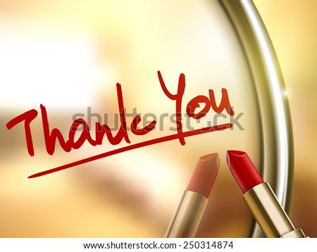 thank you words written by red lipstick on glossy mirror  - stock vector
