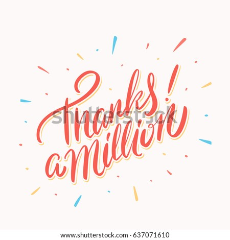 Thanks million thank you card lettering stock vector 637071610 thanks a million thank you card lettering altavistaventures Images