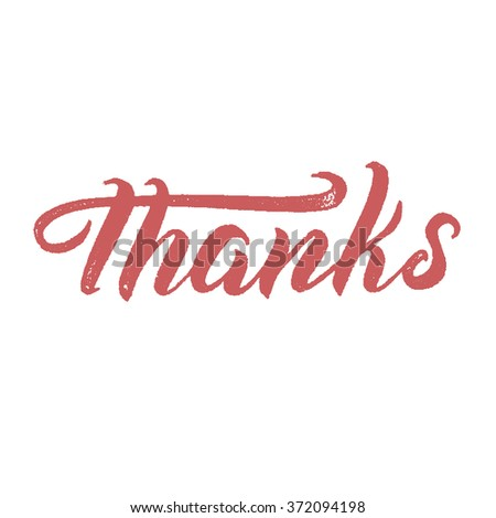 Thanks. Hand-lettering. Congratulations. Thank you. Modern calligraphy. Brush lettering - stock vector