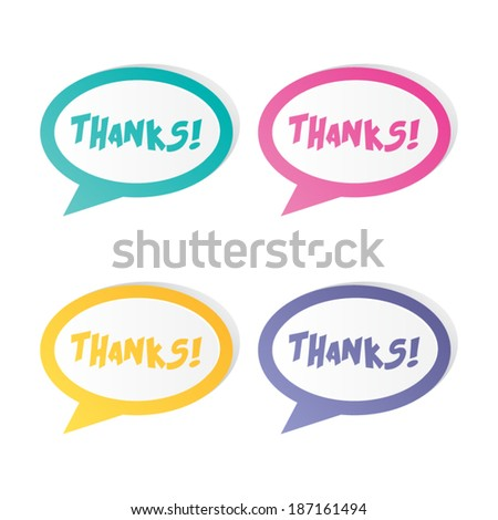 Thanks Speech Bubble Sticker Labels - stock vector