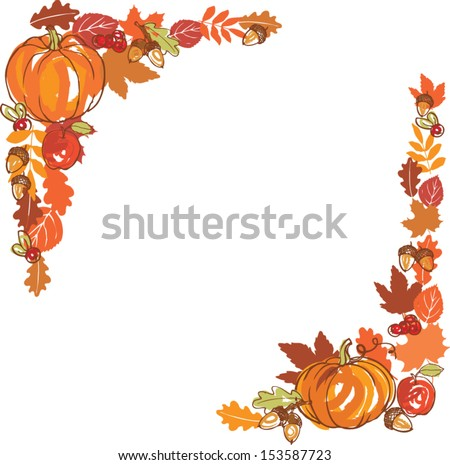 Thanksgiving Autumn Frame Vector Illustration Stock Vector 153587723 ...