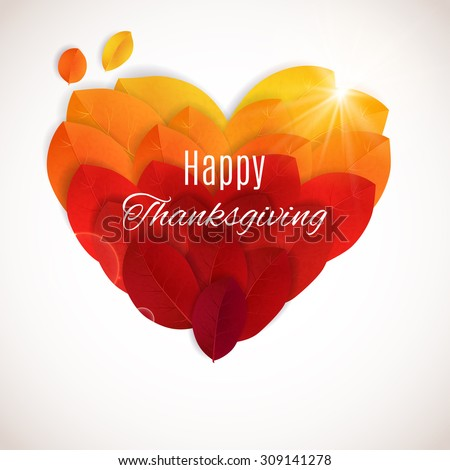 Thanksgiving background. Bright autumn leaves in a shape of heart. Happy Thanksgiving banner. I love Autumn concept - stock vector