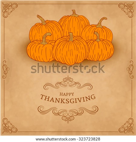 Thanksgiving background card with pumpkin and autumn leaves. Eps10 - stock vector