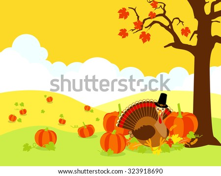 Thanksgiving background design with turkey, pumpkins and autumn leaves