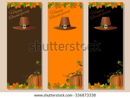 Thanksgiving background. Multicolored banners set with pumpkins, fallen leaves and pilgrim's hat. Vector illustration.