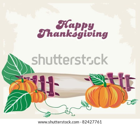 Thanksgiving card - stock vector