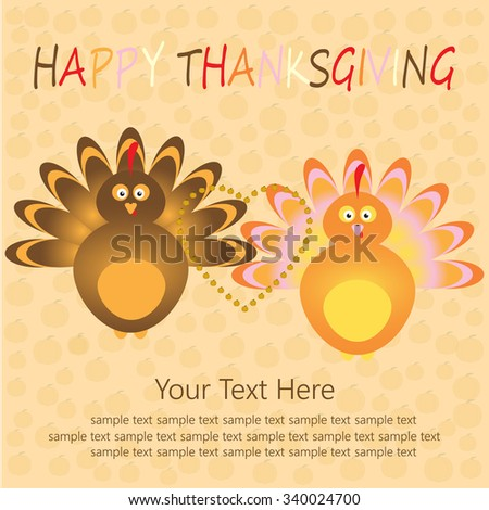 Thanksgiving card with beautiful cartoon of a turkey bird and heart on the yellow pumpkins background. Happy Thanksgiving Day celebration on stylish nature background. - stock vector