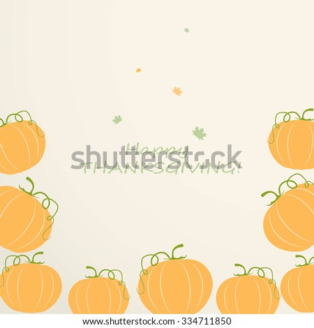 Thanksgiving card with pumpkin  - stock vector
