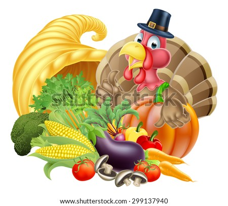 Thanksgiving cartoon turkey bird wearing a pilgrim or puritan thanksgiving hat with cornucopia full of produce - stock vector