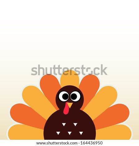 Thanksgiving colorful Turkey greeting with copyspace - stock vector