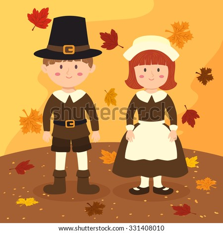 Thanksgiving Couple. Illustration of thanksgiving greeting card with a boy and a girl with costume in autumn background. - stock vector