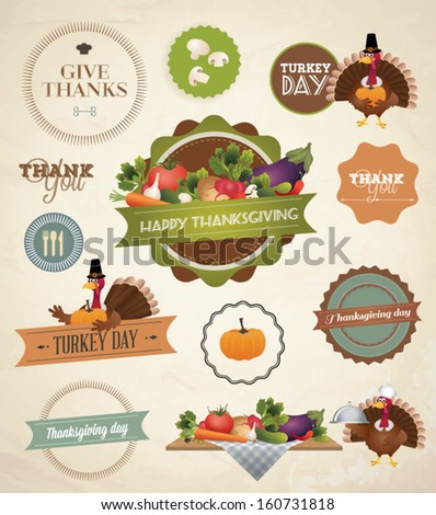 Thanksgiving Day and Harvest Labels and Stamps - stock vector