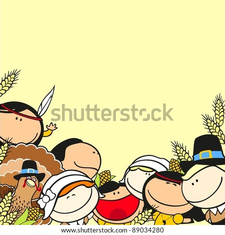 Thanksgiving day background with kids - stock vector