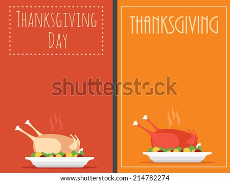 Thanksgiving Day backgrounds with turkey, vector invitation or menu - stock vector