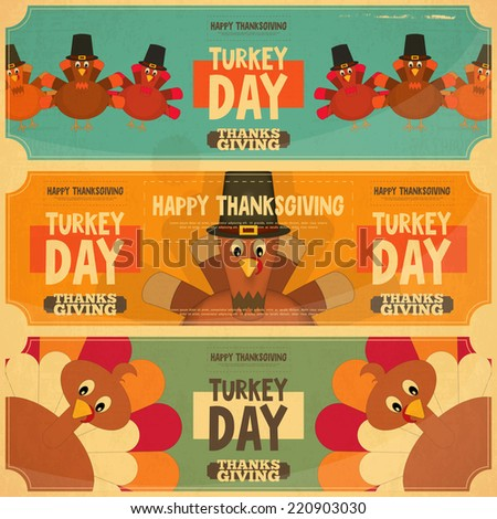 Thanksgiving Day Card. Retro Posters Set with Cartoon Turkey. Vector Illustration. - stock vector