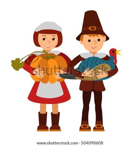 Thanksgiving Day Children Apples Turkey Vector Stock Vector
