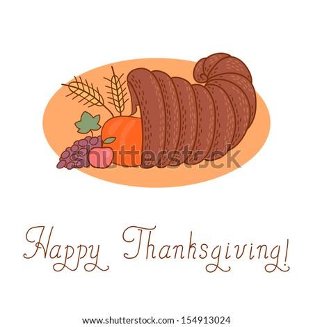Thanksgiving Day. Cornucopia. Vector Illustration. - stock vector
