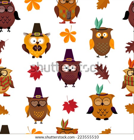 Thanksgiving Day  cute owl seamless background. vector  illustration - stock vector