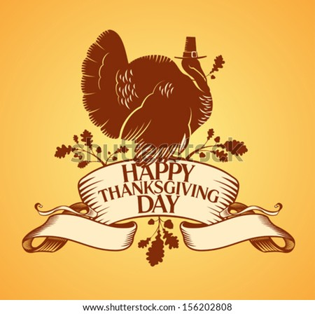 Thanksgiving day design with turkey and ribbon. - stock vector