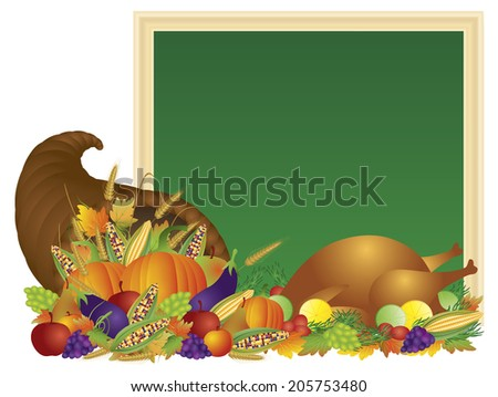 Thanksgiving Day Fall Harvest Cornucopia with Turkey Dinner Feast Pumpkins Fruits and Vegetables with Chalkboard Sign Vector illustration - stock vector