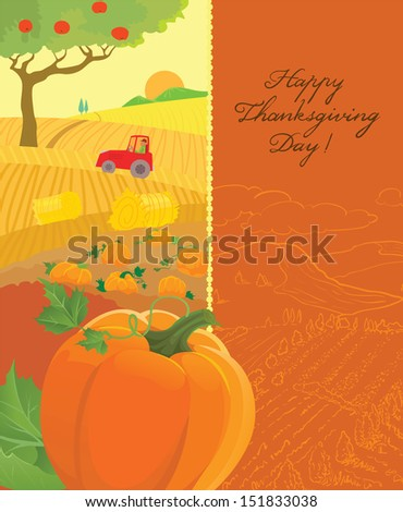 Thanksgiving Day greeting card - stock vector