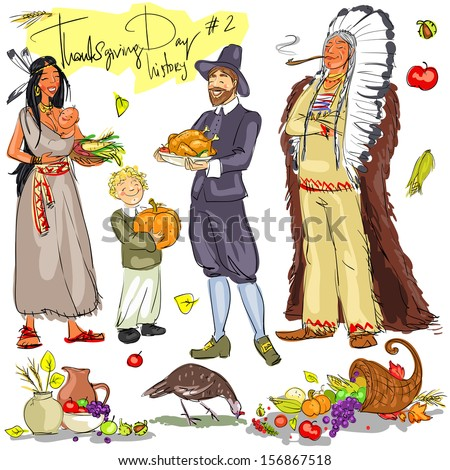 Thanksgiving day hand drawn collection. Historical set 2, isolated - stock vector