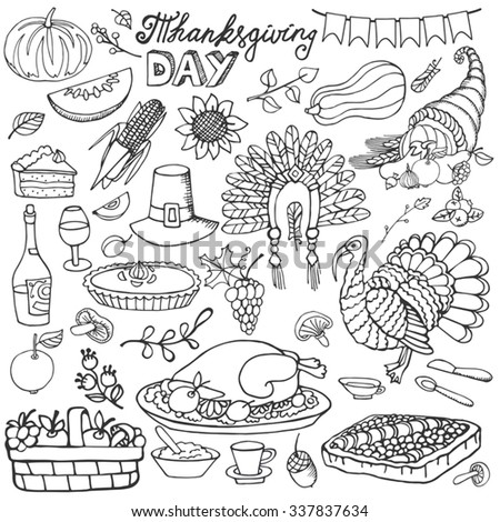 Thanksgiving day icons,doodle set.Autumn harvest decor elements.Hand drawing holiday symbols. Linear vintage vector illustration.