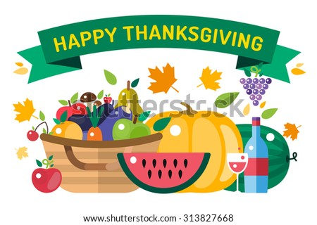 Thanksgiving day illustration. Thanksgiving card. Thanksgiving  background or banner. Thanksgiving  pumpkin vector silhouette. Thanksgiving with leaves falling background. Yellow and orange colors - stock vector