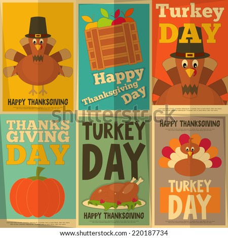 Thanksgiving Day. Retro Posters Collection with Cartoon Turkey. Vector Illustration. - stock vector