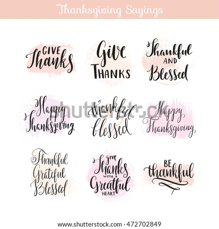 Thanksgiving day sayings quotes creative hand stock vector royalty thanksgiving day sayings quotes creative hand drawn calligraphy unique lettering design for greeting m4hsunfo