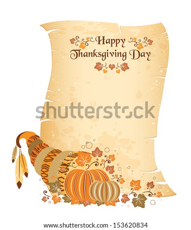 Thanksgiving day scroll with harvest cornucopia