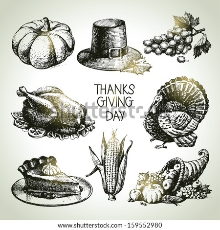 Thanksgiving Day set. Hand drawn vintage illustrations - stock vector