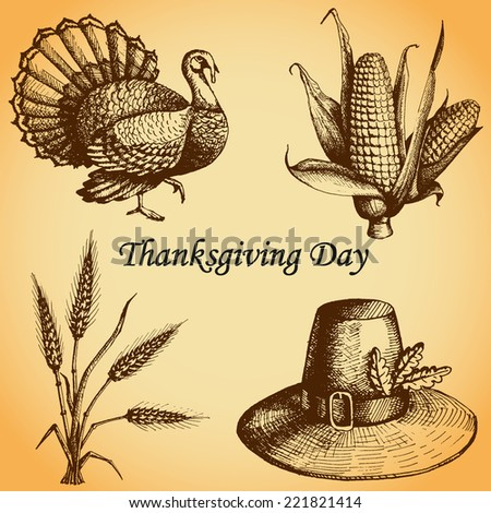 Thanksgiving Day set (kit). Pilgrim's hat, turkey, wheat, corn.  Hand drawn sketch and watercolor vector illustration - stock vector