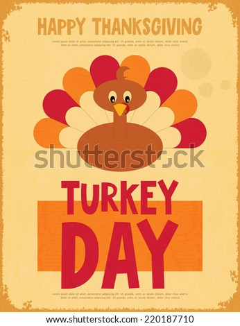 Thanksgiving Day. Vintage Poster with Cartoon Turkey. Vector Illustration. - stock vector
