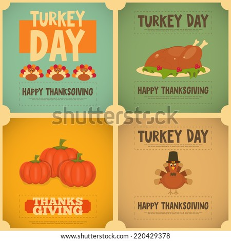 Thanksgiving Day. Vintage Posters Set with Cartoon Turkey. Vector Illustration. - stock vector