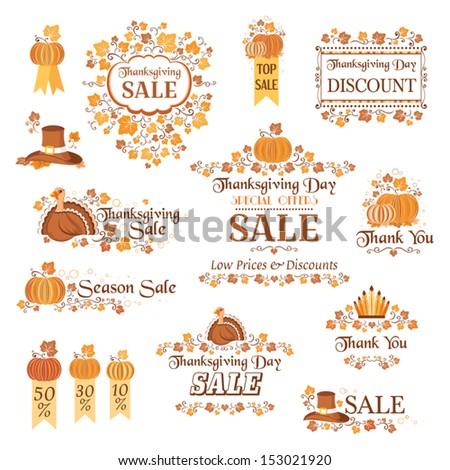 Thanksgiving decorative elements - stock vector