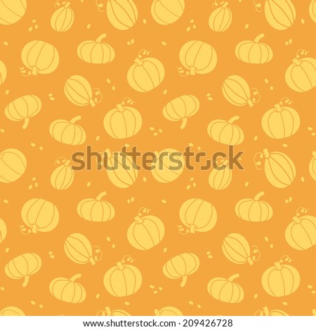 Thanksgiving golden pumpkins seamless pattern background - stock vector