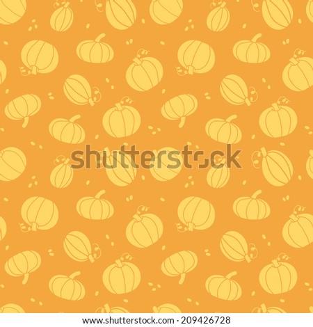 Thanksgiving golden pumpkins seamless pattern background - stock vector