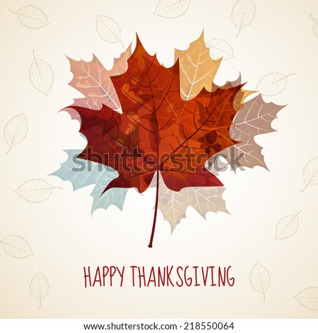 Thanksgiving greeting card, maple leaves, eps10 vector - stock vector