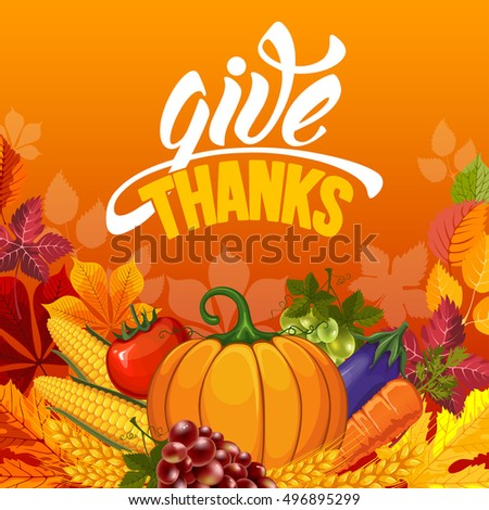 Thanksgiving greeting card pumpkin calligraphy inscription stock thanksgiving greeting card with pumpkin and calligraphy inscription give thanks happy thanksgiving day design template m4hsunfo