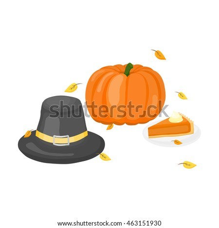 Thanksgiving hat, pumpkin and pie composition in cartoon style isolated on white background.