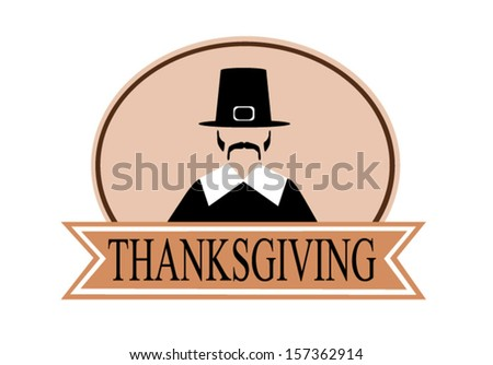thanksgiving holiday banner with pilgrim - stock vector